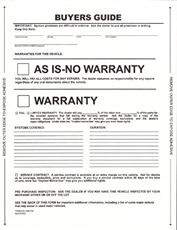 picture relating to As is No Warranty Printable Form called : 1-Portion Self-Adhesive Consumers Specialist - As Is