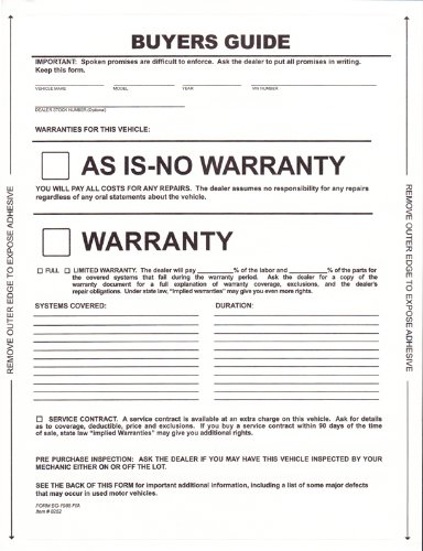 picture relating to Free Printable as is No Warranty Form identified as : 1-Element Self-Adhesive Potential buyers Consultant - As Is
