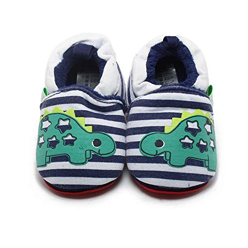 Delebao Baby Infant Toddler Cartoon Rubber Sole Crib Shoes Slippers Prewalker 0-24 Months (0-6 Months, (Baby Dinosaur Cartoon)
