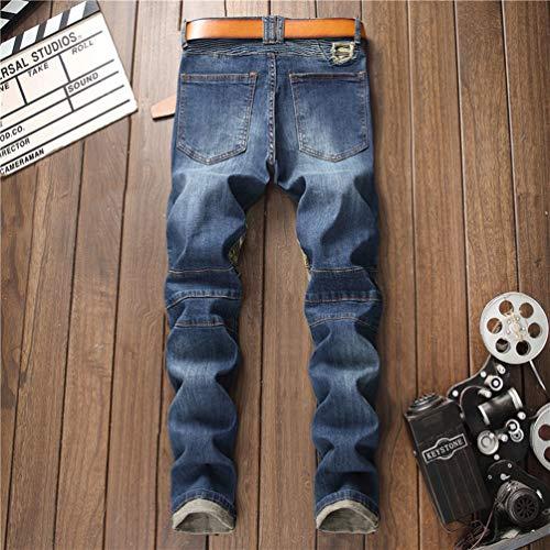 Hombre Camuflaje Elasticos Denim Rectos Como Rasgados Rotos Vaqueros WanYangg Pantalones Rajados Jeans Imagen La EqwS8Xz