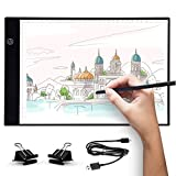 UKON A4 LED Light Box Drawing Light Pad Art Tracing Light Board for Tracer Kids Artists Diamond Painting with Dimmable Brightness for Embroidery Sketching Animation Stenciling ... (A4)