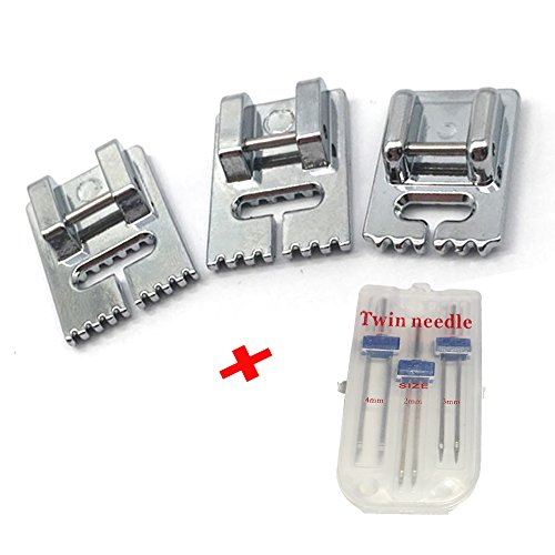LNKA 3 Pcs Double Twin Needles Pins (3 Size Mixed 2.0/90 3.0/90 4.0/90) with 3pcs Groove Pintuck Presser Foot Sewing Machine Accessories ()