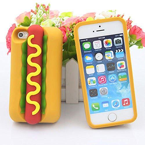 Merssavo 3D Cartoon Hot Dog Wurst Sawaii Food Silikon TPU Phone Case Cover Back für das IPhone 6plus/6splus