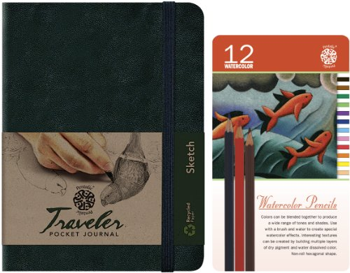 Watercolor Pencil Tin - Pentalic 12-Watercolor Pencil Tin and Traveler Pocket Journal Value Pack
