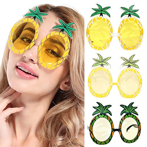 Glumes Tropical Hawaiian Party Sunglasses, Pineapple, Novelty Funny Cool Sunglasses Favors for Man Woman in Summer]()