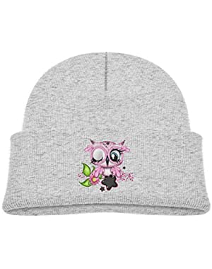 Kids Knitted Beanies Hat Pink Owl Winter Hat Knitted Skull Cap for Boys Girls Pink