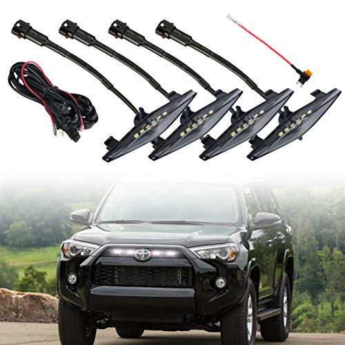 4 PCS Led Smoked Grille Lights Kits for Toyota 4Runner TRD Pro 2014-2019, Including SR5, TRD off-road, Limited, TRO Pro (Smoked shell white lights)