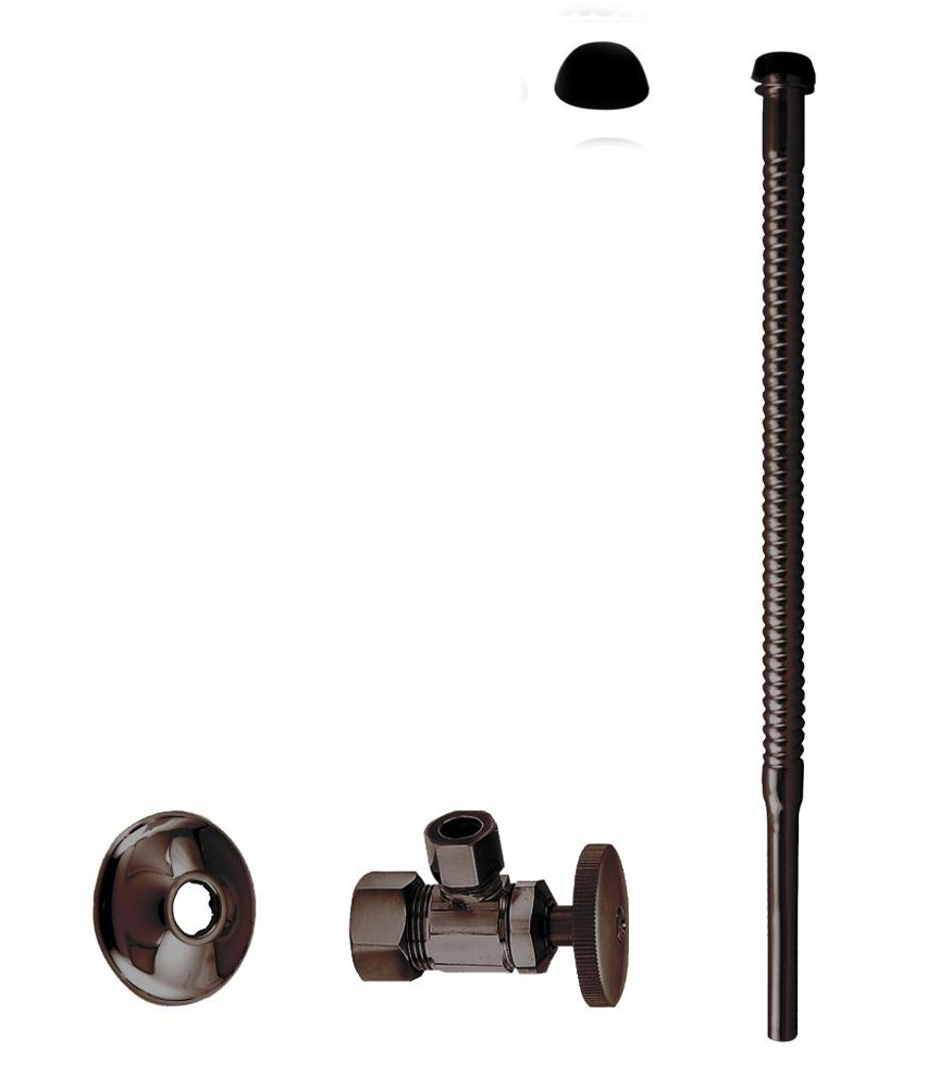 Westbrass Corrugated Supply Kit with Round Handle, 5/8'' OD x 3/8'' OD x 12'', Oil Rubbed Bronze, D105K12-12
