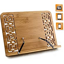 Joyoldelf BamBoo Reading Rest Cookbook Stand Holder, Middle Size, Foldable Tablet Cook Book Stand Bookrest with Adjustable Backing & Elegant Pattern, 9.4 x 13.4 x 1.7 inch