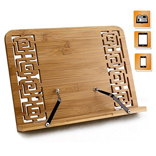 Elegant Stand (Joyoldelf BamBoo Reading Rest Cookbook Stand Holder, Foldable Tablet Cook Book Stand Bookrest with Adjustable Backing & Elegant Pattern)