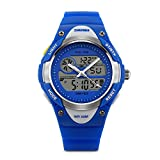 Kids Dual Time Watch Analog-Digital Watch Military Time Army Sport Alarm Watch Calendar Round Case Fashion led Watch Athletic Cheap Wrist Watches on Sale for Child 50M 164FT Waterproof-Blue