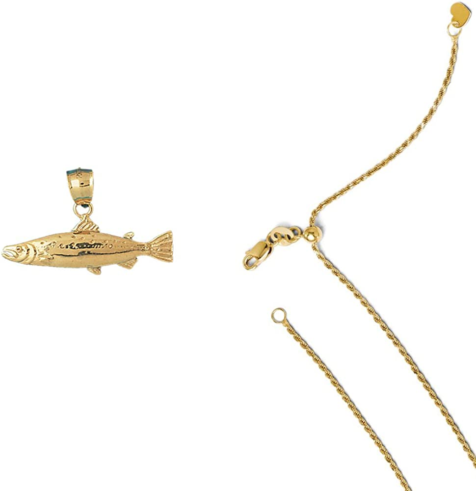 14K Yellow Gold Salmon Pendant on an Adjustable 14K Yellow Gold Chain Necklace