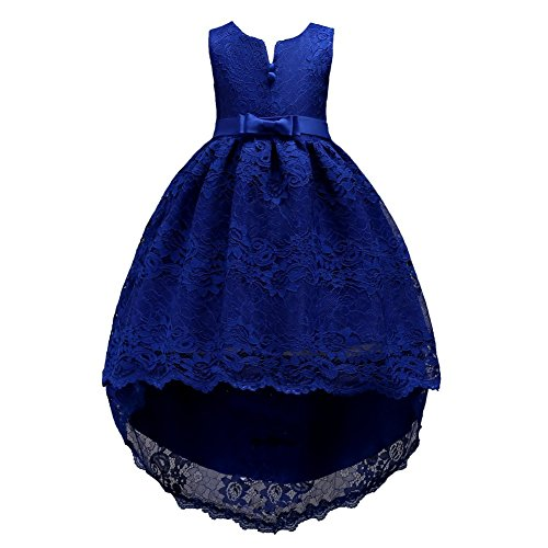 Girl Dresses Size 6 Navy Sleeveless 4-5 Years for Wedding Pageant Dresses for Girls 5-6 Floor Length 6-7 Lace Tutu Tulle Ball Gown Children Formal Party Prom Halloween Gowns Long Train (Navy 120)]()