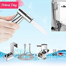 Toilet Hand Held Bidet Shattaf Sprayer, YECO Premium Stainless Steel Cloth Diaper Sprayer- Bidet Muslim Sprayer Kit with 7/8 inch T-Adapter, Metal Hose, Polished Chrome,Tank/Wall Mount for Bathroom