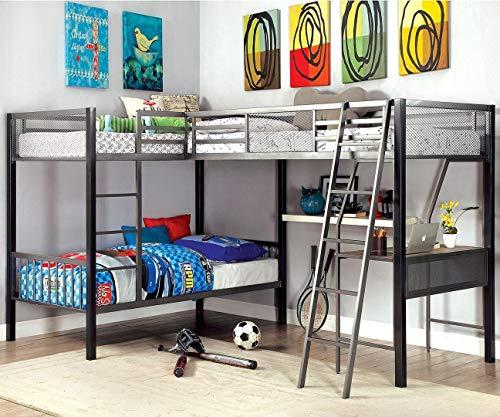 Ballarat L-Shaped Triple Twin Bunk Bed w/Desk by Furniture of ()