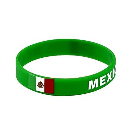 c5bf36208669 2018 Copa Mundial de Fútbol Pulsera de Silicona Pulsera de Bandera México  Pulsera Neutral Pulsera de