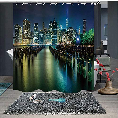 AngelDOU New York Fashion Styles Printed Shower Curtain Pier Pilings and Manhattan Skyline at Night Downtown Urban East River for Home Hotel Club Bathroom Decoration from AngelDOU