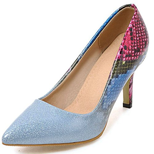 Party Stiletto Wedding Women Sexy Shoes Crystal Toe Heel High Prom VIMISAOI Pointed Blue Pumps d4qpBxPTd
