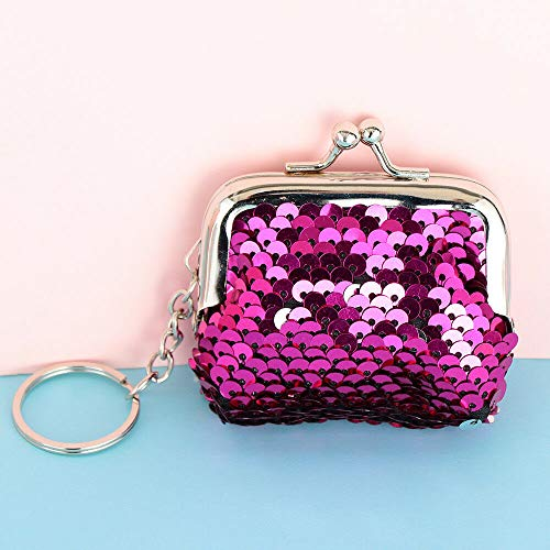 (Bags Hasp Mini Wallet Card Holder Sequins Coin Purse Clutch Handy Purse | Size - Rose red silver |)