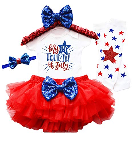 My 1st 4th of July Baby Girl Outfit Rompers +Tutu Dresses+Headband+Leggings 4Pcs Skirt Set 6-9 Months Red]()