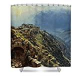 Pixels Shower Curtain (74'' x 71'') ''Rider On A White Horse''
