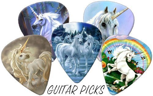 Unicorns Full Colour Premium Guitar Picks x 5 Medium 0.71 Printed Guitar Picks