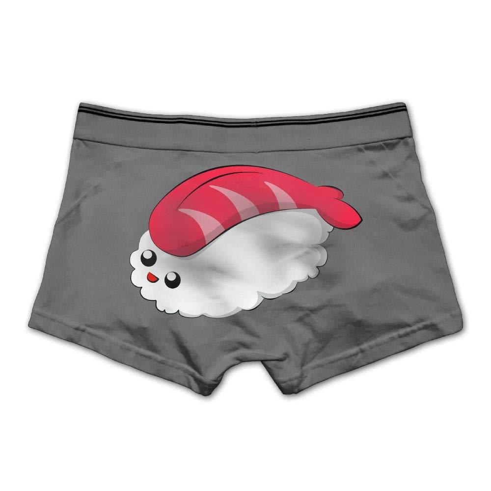 Ghhpws Mens Cute Sushi Underwear Cotton Boxer Briefs Stretch Low Rise Trunks White