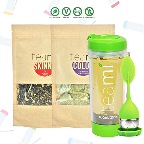 Teami 30-Day Detox Tea Starter Pack All-Natural Teatox Kit with Teami Skinny Teami Colon Cleanse Loose Leaf Herbal Teas w 20oz Green Tumbler and Infuser