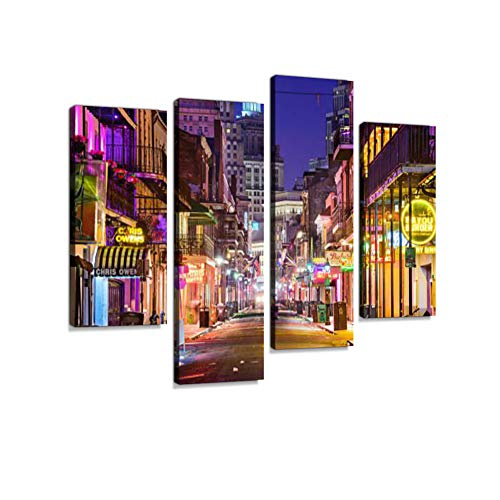 (Bourbon Street New Orleans Canvas Wall Art Hanging Paintings Modern Artwork Abstract Picture Prints Home Decoration Gift Unique Designed Framed 4 Panel)
