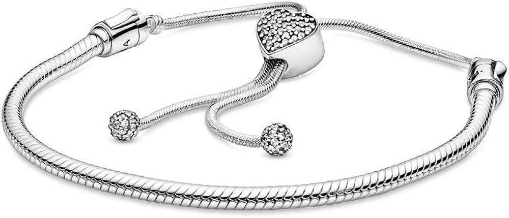 PANDORA Moments Heart Clasp Slider Bracelet,