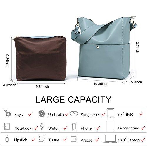 BOSTANTEN Women's Leather Designer Handbags Tote Purses Shoulder Bucket Bags 3