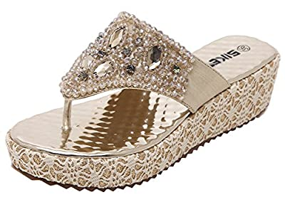 AGOWOO Women's Bling Studded Wedge Sandles Platform Thong Sandals