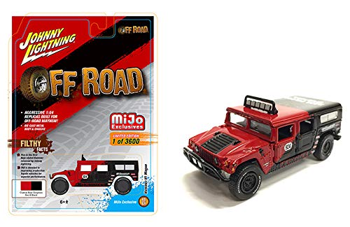 Hummer H1 Wagon #924 Red and Black Baja Pilots Off Road Limited Edition to 3,600 Pieces Worldwide 1/64 Diecast Model Car by Johnny Lightning JLCP7154