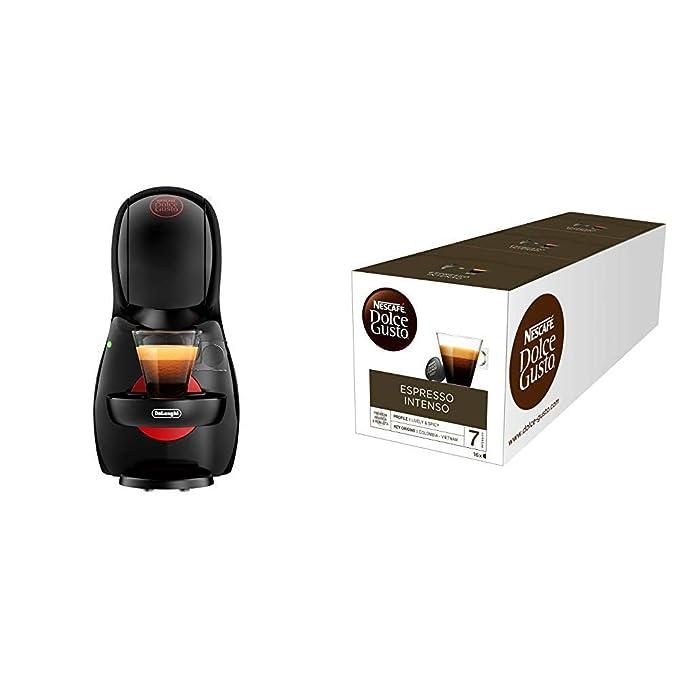 Pack DeLonghi Dolce Gusto Piccolo XS EDG210.B - Cafetera de cápsulas, 15 bares de presión, color negro + 3 packs de café Dolce Gusto Espresso Intenso