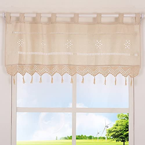 ZHH Handmade Hollow Flower Cafe Curtain Linen and Cotton Crochet Lace Window Patchwork Valance 38 by 60-inch, Cream Light Beige