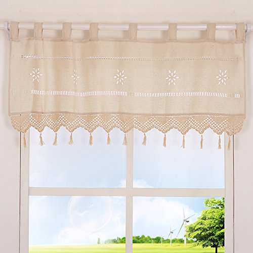 ZHH Handmade Hollow Flower Cafe Curtain Linen and Cotton Crochet Lace Window Patchwork Valance 17 by 59-inch, Cream/Light Beige