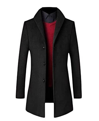 Zimaes Men Business Winter Mid Long Single Breasted Quilted