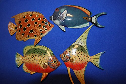 Pelican Wall - Salty Pelican Coral Reef Fish Wall Decor Realistic 3-D Moisture Resistant, 6 inch, Bundle 4 Fish