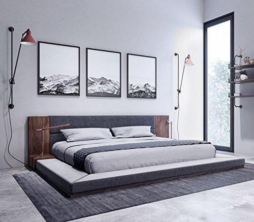 Nova Queen Platform Bed - Limari Home LIM-74151 Asherly Queen Bed, Grey/Walnut