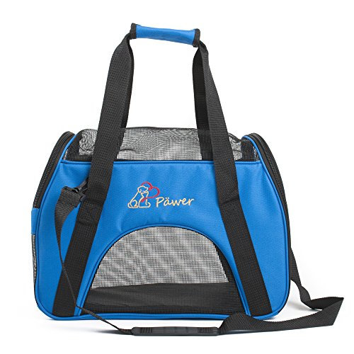 - Pawer Soft-Sided Pet Carrier for Cat and Small Dog,Blue Color,Medium Size,Washable 600D Oxford Cloth Airline Approved Travel Tote,with 2 Mesh Opens and a Strap for Carry,Multiple Colors Available