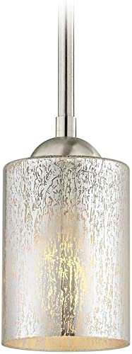 Satin Nickel Mini-Pendant Light Mercury Glass Cylindrical