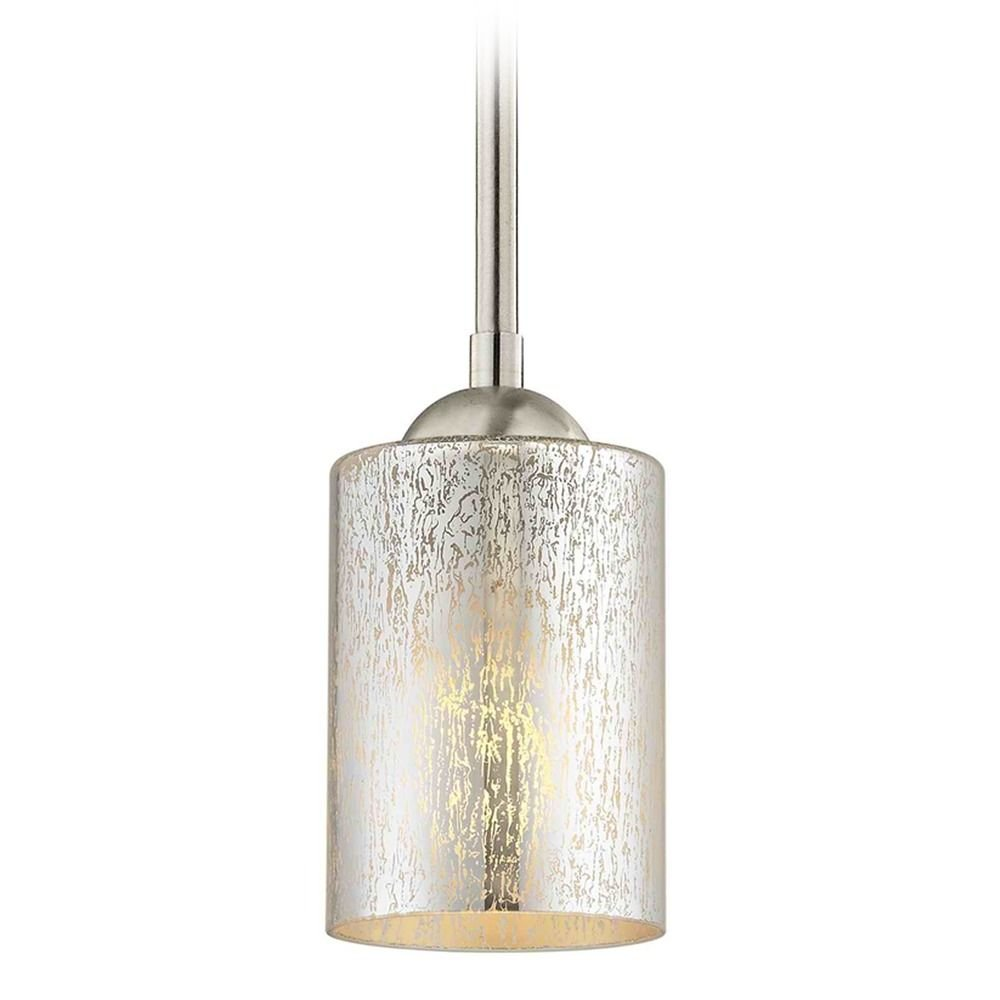Satin nickel mini pendant light mercury glass cylindrical