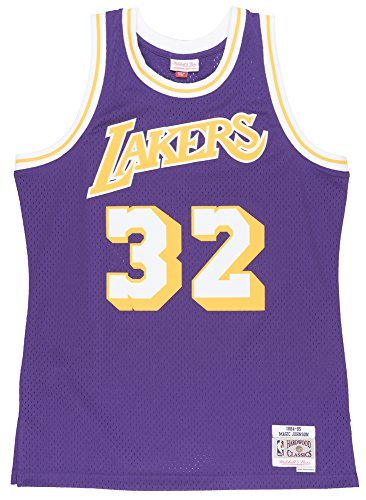cb83f0c21 ... Magic Johnson 1984-85 Los Angeles Lakers Purple Swingman Jersey. This  Mitchell   Ness throwback swingman jersey is 100% polyester mesh and has  the ...