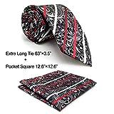 Shlax&Wing Designer Geometric Neckties For Men Red Black White Tie Wedding New