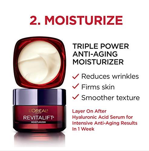 51FFRfOy93L - L'Oreal Paris Skin Care Revitalift Hyaluronic Acid Facial Serum and Triple Power Face Moisturizer Anti-Aging Skin Care Set, 1 Kit