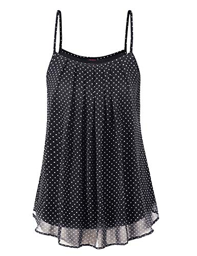 Anmery Summer Casual Clothes Flowy Dressy Tank Tops for Women Black White L ()
