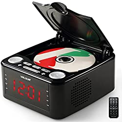 Velour CD Player Top Loading With FM Radio USB Aux-In Clock Alarm and 1.2 Inch Red LED Display (Black)