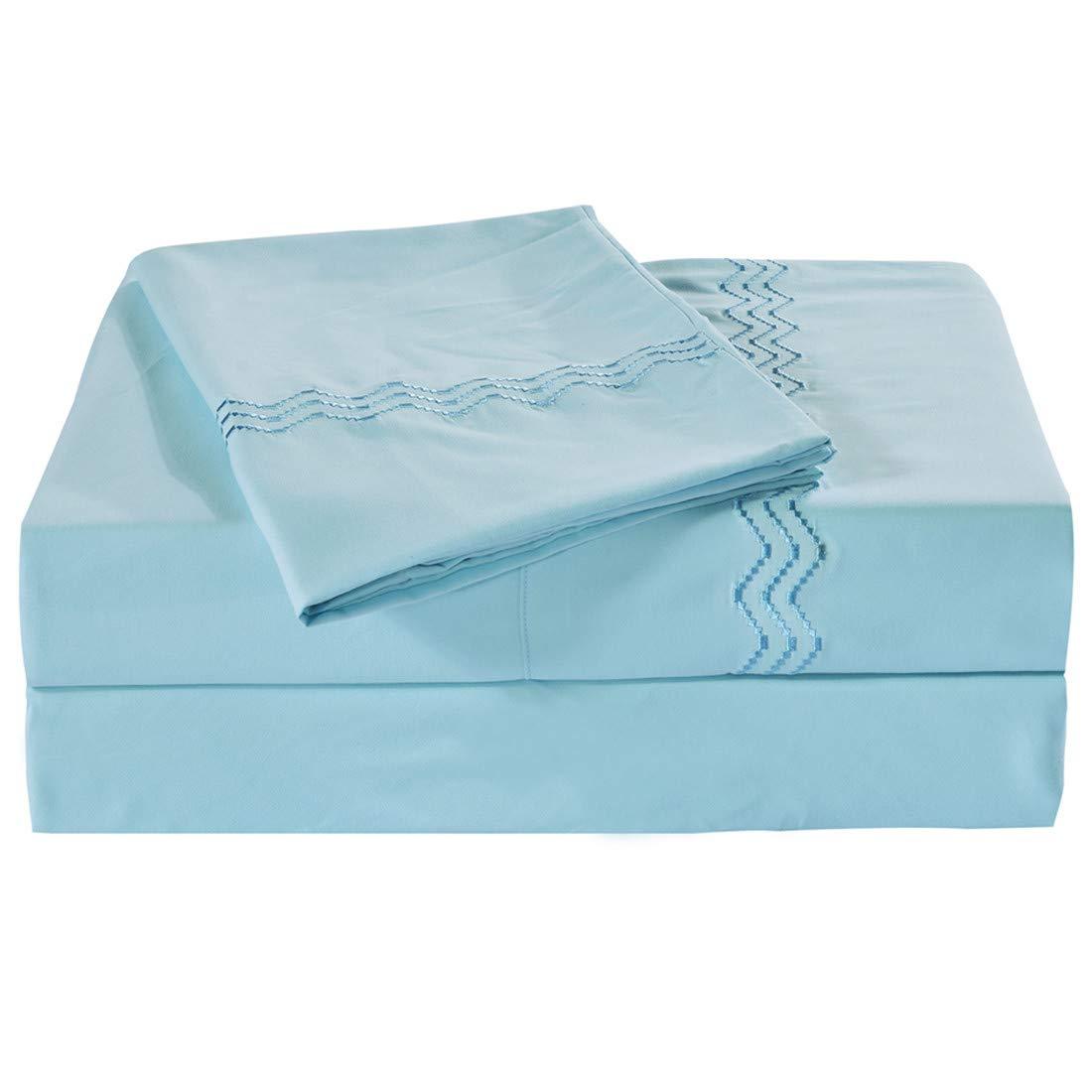 Vonty Embroidered Brushed Microfiber 1500 Thread Count Bed Sheet Set, Deep Pockets, Wrinkle & Fade Resistant 4pcs Sheet Sets (Queen,Sky Blue)