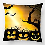 LDJ Cotton Polyester Sofa Chair Seat Square Throw Pillow Case Decorative Cushion Cover Pillowcase Design With Halloween Night Custom Personalized Pillow Cover Print Double Side Sized 20X20 Inches