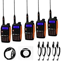 5 Pack Baofeng Pofung GT-3TP Mark-III Tri-Power 8/4/1W Two-Way Radio Transceiver, Dual Band 136-174/400-520 MHz True 8W High Power Two-Way Radio, with 23CM High Gain Antenna, Upgraded Chip + 1 Programming Cable Included
